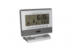 Estación climatológica con reloj, calendario y alarma, 99 años, plata con gris