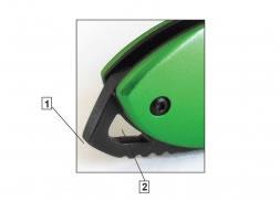 Navaja de bloqueo manual, hoja lisa de 7.8 cm, mango S.O.S. metal verde con clip