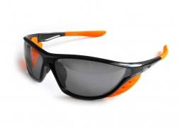 Lentes armazón negro/naranja, micas humo espejo, con estuche y paño