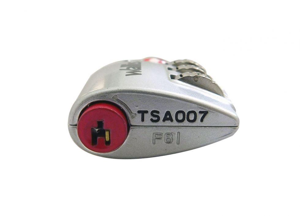 Candado de combinación TSA, combinación 3 discos, plata