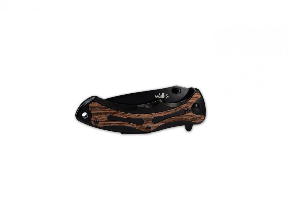 Mango metal negro con tipo madera y clip, hoja lisa-sierra de 8.5 cm de largo