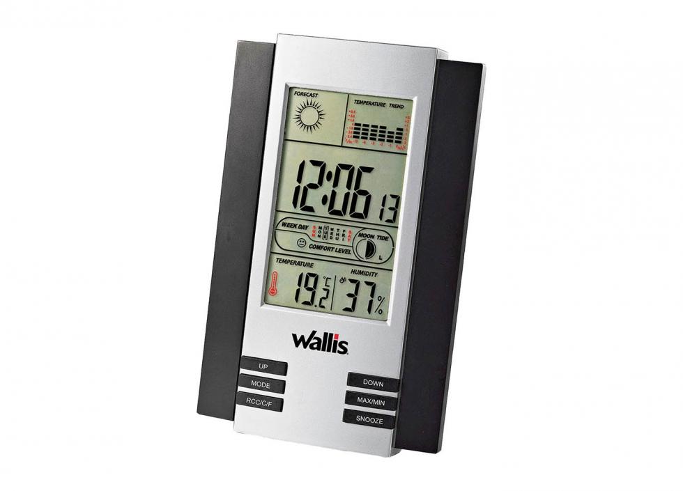 Estación climatológica con reloj, calendario y alarma, 88 años, plata con negro
