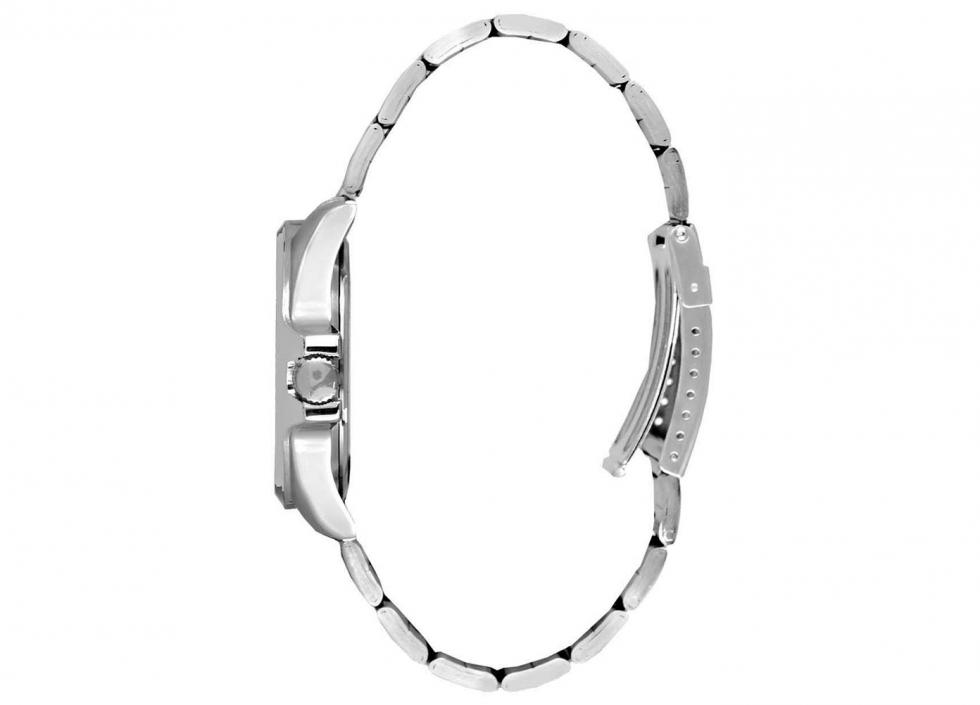 Reloj análogo, movimiento japones de cuarzo, resistente a 5 ATM, acero/blanco